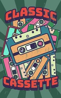 Ilustração retro vintage dos pôsteres em fita cassete