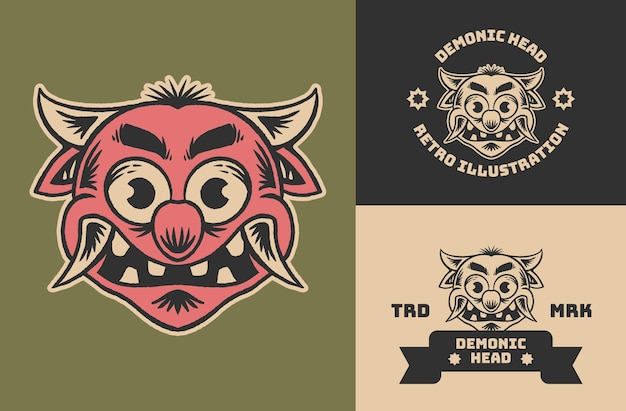 Ilustração retrô vintage fofa de cabeça de demônio