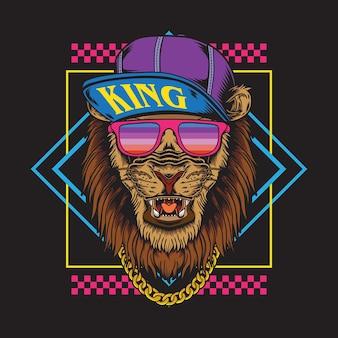 Ilustração retrô vintage hip-hop com desgaste de leão