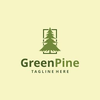 Ilustração retro vintage natureza verde pinheiro logo design silhueta evergreencedarvector