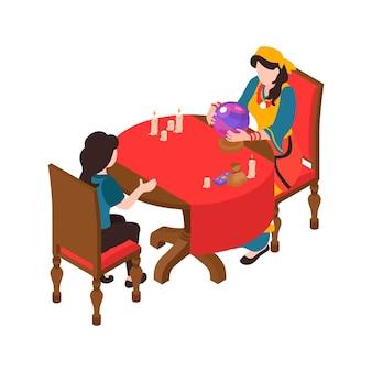 Ilustração reveladora da sorte com cliente e cigano usando cartas de tarô de bola de cristal runas isométricas