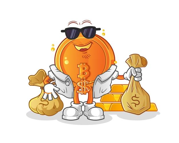 Ilustração rica em bitcoins
