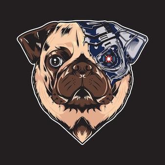 Ilustração robótica vintage de cão pug legal