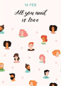 Ilustração romântica com giros jovens mulheres e homens apaixonados.