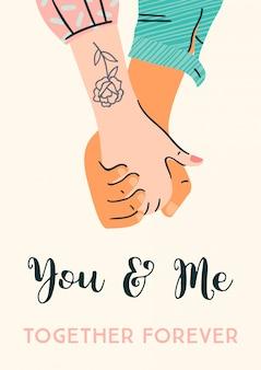 Ilustração romântica com mãos masculinas e femininas. amor, história de amor, relacionamento.