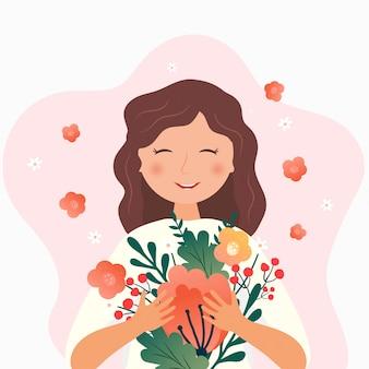 Ilustração romântica com personagem fofa. menina sorridente com flores