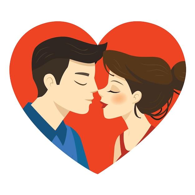 Ilustração romântica de casal se beijando em um branco