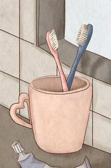 Ilustração romântica de escovas de dentes de casal desenhada à mão