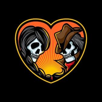 Ilustração romântica do crânio do casal
