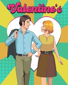 Ilustração romântica do dia dos namorados, tema retro