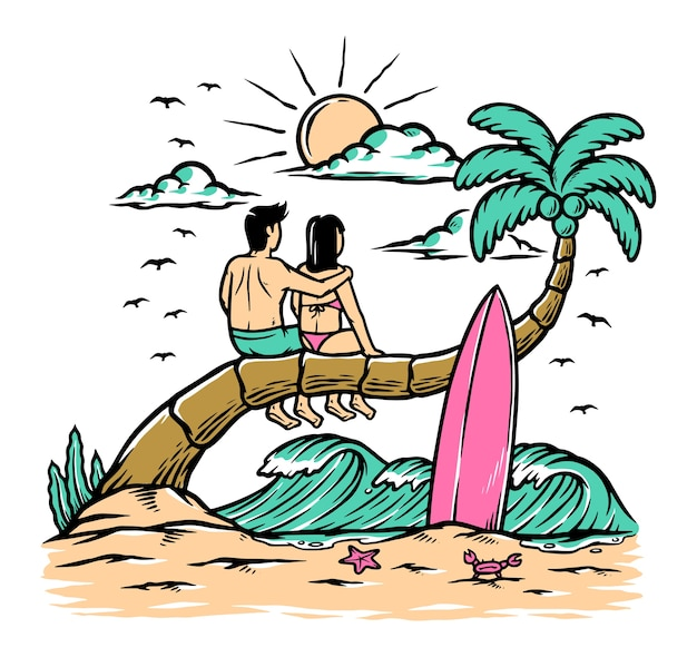 Ilustração romântica na praia