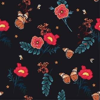 Ilustração romântica primavera noite florescendo floral