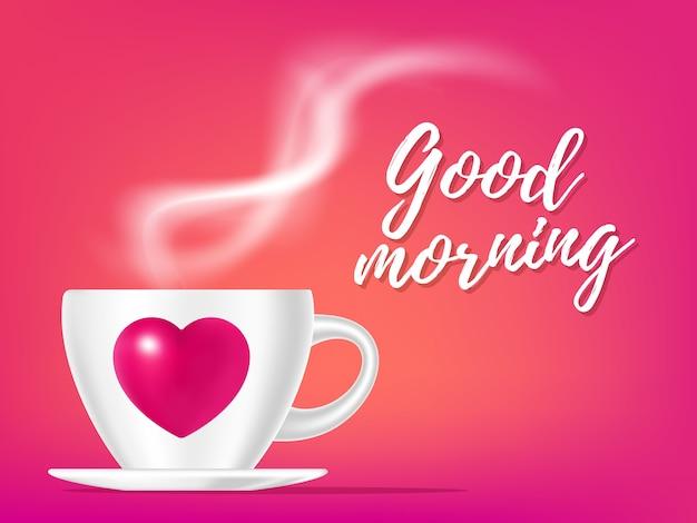 Ilustração romântica realista de xícara de café de cor branca com vapor e coração