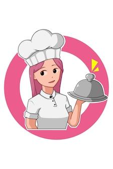 Ilustração rosa dos desenhos animados da garota chef