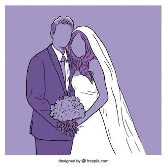 Ilustração roxa do casamento