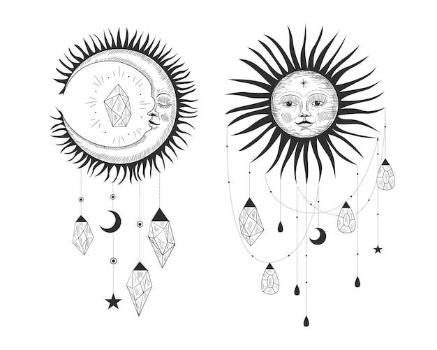 Ilustração sagrada mágica em estilo retro vintage de gravura