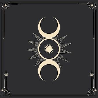 Ilustração sagrada mística em estilo retro de gravura