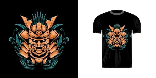 Ilustração samurai com ornamento de gravura para design de camiseta