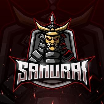 Ilustração samurai mascote esport