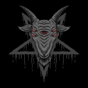Ilustração satânica de cabra