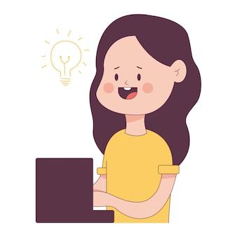 Ilustração satisfeita do conceito da escrita com o caráter bonito da menina dos desenhos animados isolado em um fundo branco.