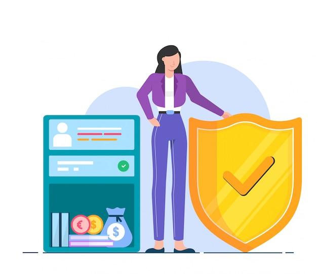 Ilustração segura de dinheiro e documento