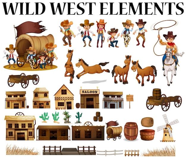 Ilustração selvagem de cowboys e edifícios do oeste