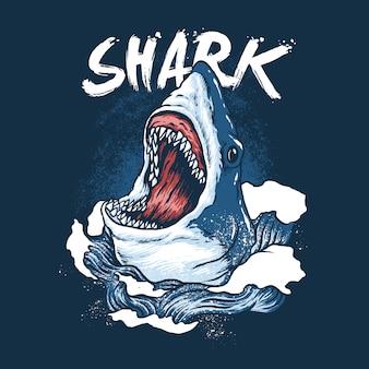 Ilustração selvagem de peixe tubarão