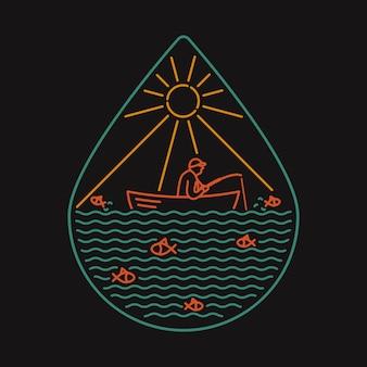 Ilustração selvagem do crachá da natureza do mar da camiseta