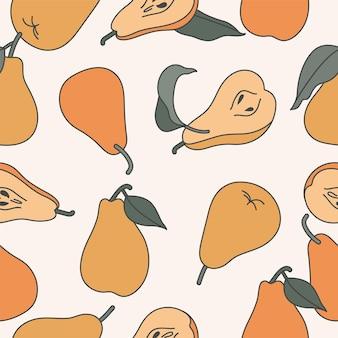 Ilustração sem costura padrão com peras amarelas. coleção de frutas de peras.