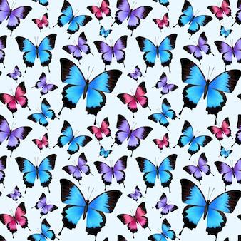Ilustração sem emenda do vetor do teste padrão das borboletas coloridas na moda festivas decorativas.