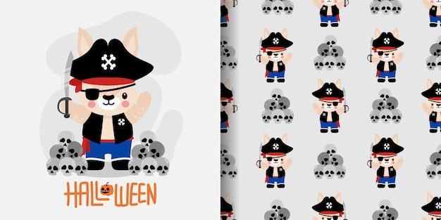 Ilustração sem emenda dos desenhos animados do coelho do coelho de halloween doodle