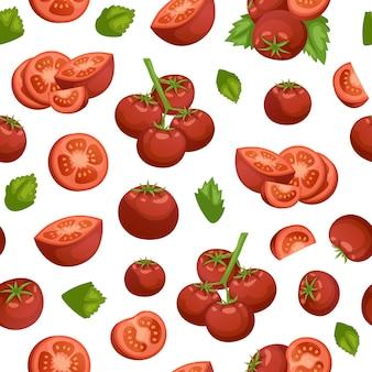 Ilustração sem emenda orgânica do teste padrão dos vegetais do eco dos tomates.