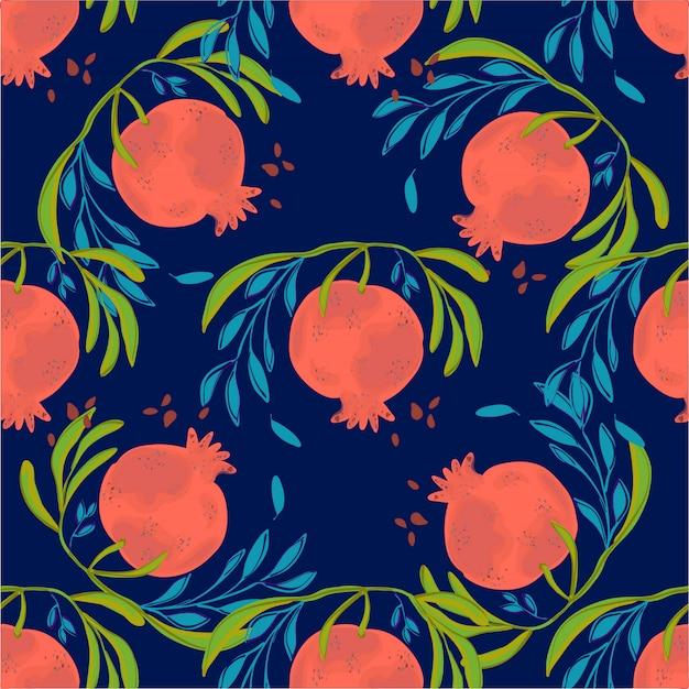 Ilustração sem emenda tirada mão do teste padrão da romã. fruta botânica. romã gravada.