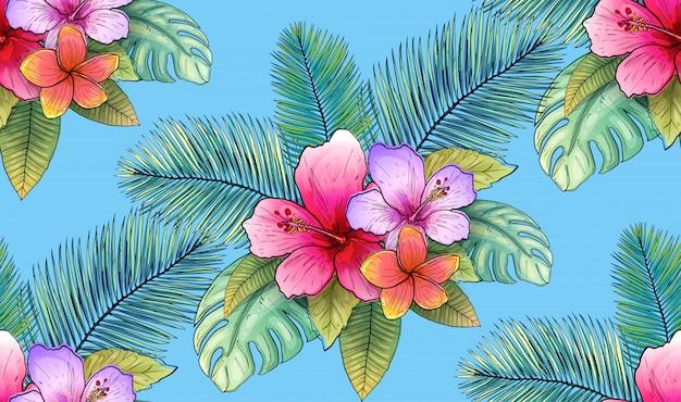 Ilustração sem emenda tropical floral e da folha do teste padrão do vetor.