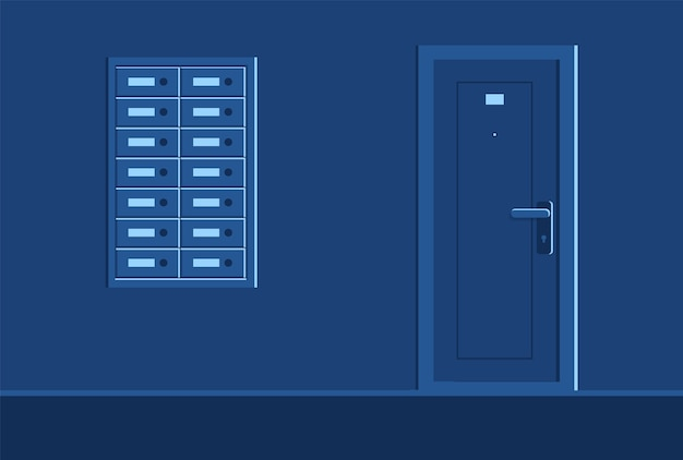 Ilustração semi-corredor escuro de edifício residencial bem equipado