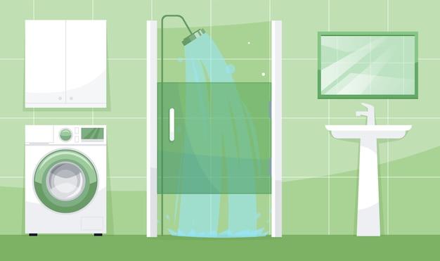 Ilustração semi-plana com vista do banheiro
