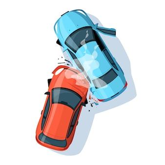 Ilustração semi plana de acidente de carro