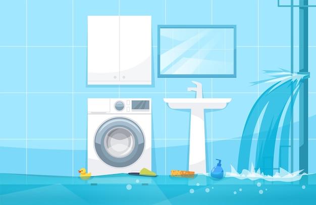 Ilustração semi-plana de inundação de banheiro