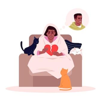 Ilustração semi plana de mulher chorando solitária