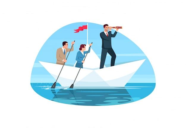 Ilustração semi plana de trabalho em equipe corporativa