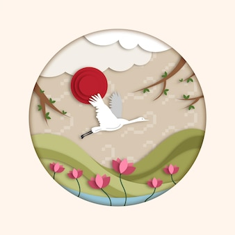 Ilustração seollal em estilo de papel com cegonha e flores