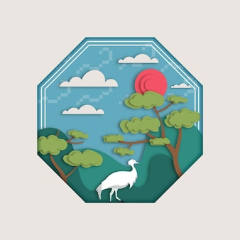Ilustração seollal em estilo de papel com cegonha e montanhas