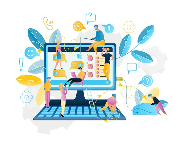 Ilustração serviço online compras na internet