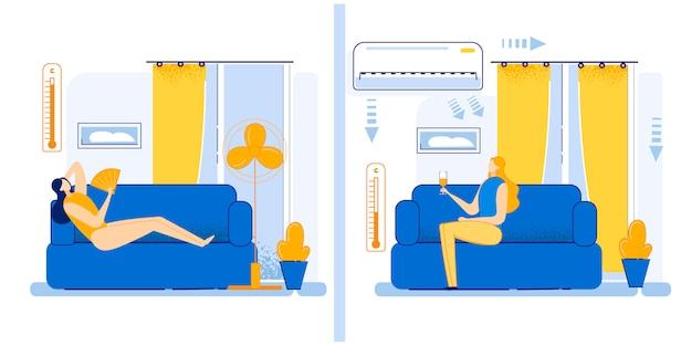 Ilustração set como mover summer heat cartoon flat.