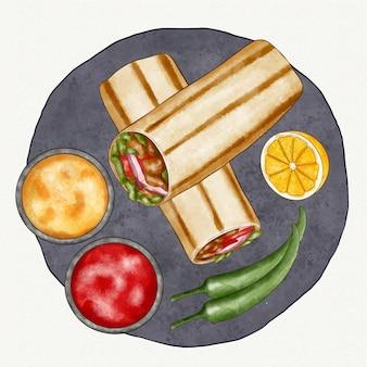 Ilustração shawarma pintada à mão em aquarela