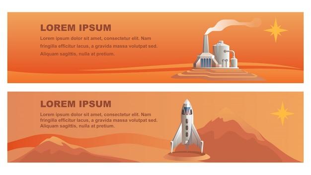Ilustração shuttle technical building red planet