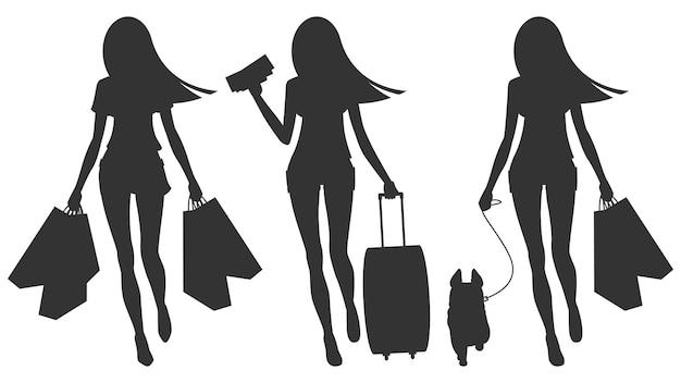 Ilustração, silhueta de viagens de movimento andando com cachorro, formato eps 10