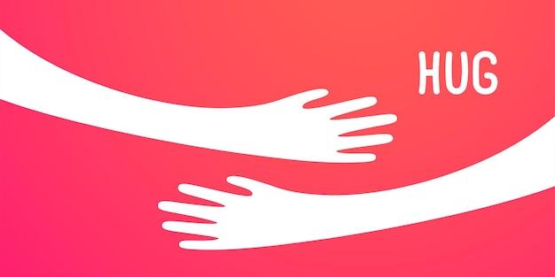 Ilustração simples com as mãos se abraçando
