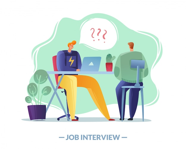 Ilustração simples de entrevista de emprego